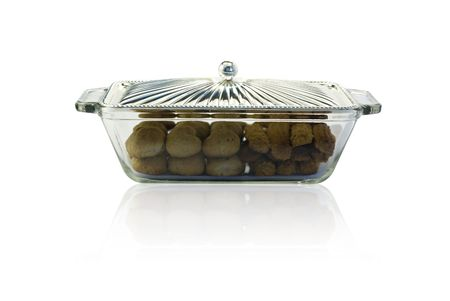 Cookies in silver and glass plate isolated Stock Photo