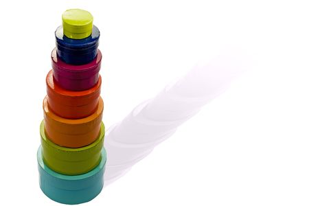 matrioska: Colorful cartoon gift boxes isolated on white