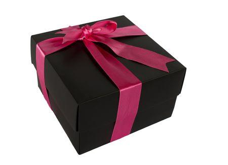 Black box avec ruban violet sur blanc