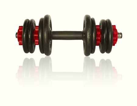 Iron barbell isol� sur blanc Banque d'images