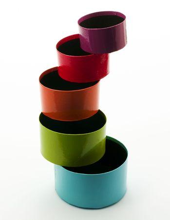 matrioska: Balance of carton colorful boxes Stock Photo
