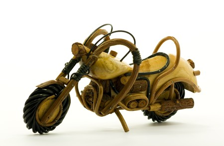 Wooden scale model motorcycle Stock Photo