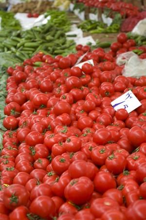 Organic vegetables in a market place Stock Photo