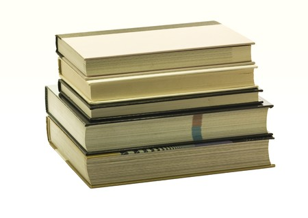 Hardcover books isolated on white background