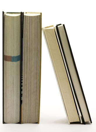 Vertical books isolated on white background