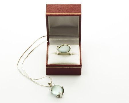 Blue Topaz on ring and necklace photo
