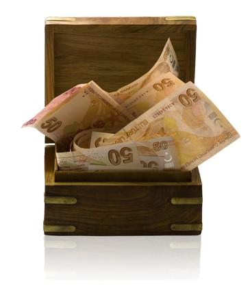 Wooden treasure box full of  banknotes