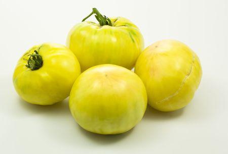 Surprising yellow organic tomatoes Stock Photo