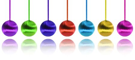 Christmas balls hanging in order covered with cotton Stock Photo