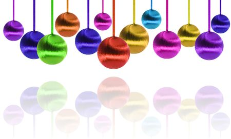 Several christmas balls in different sizes and colors