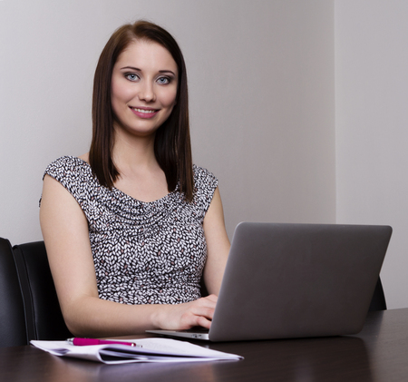woman handle success: Young business woman Stock Photo