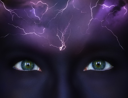 Brainstorm conceptualisation, literal storm and lightnings on dark makeuped female forehead, bright eyes looking foreward, business ideas