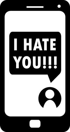 Cyberbullying conceptualization, I hate you message on smartphone, black and white vector, online aggression and humiliation illustration or icon usable for web and print materials