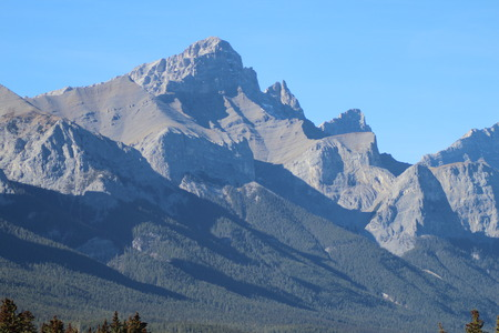 Mountain Summit In The Canadian Rockies Stock Photo
