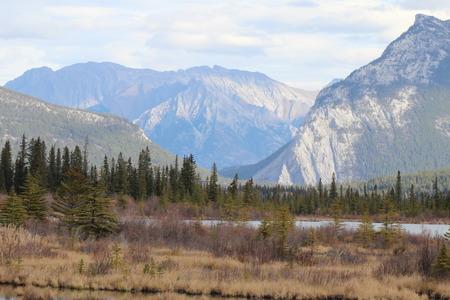 Mountains Surrounding Banff Townsite, Banff National Park Stock Photo