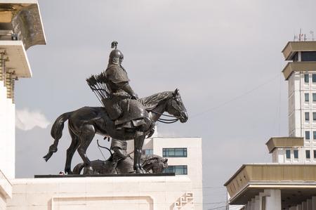 mongolian: Statue of Mongolian warrior in the center area of Ulaanbaatar
