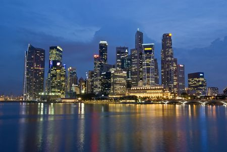 districts: Singapore City Evening Skyline