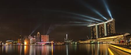 jachthaven: Singapore City avond skyline
