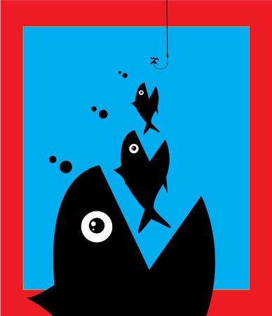 Little Fish Eat Big Fish. Unity, Teamwork, Mergers, Acquisitions, Partnerships Concept 일러스트
