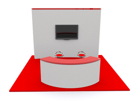 for designers: Trade exhibition stand and blank roll banner 3d render isolated - Template for designers