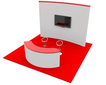 expositor: Exposición Mercados de pie y la bandera rollo blanco de procesamiento 3D aislado - Plantilla para diseñadores