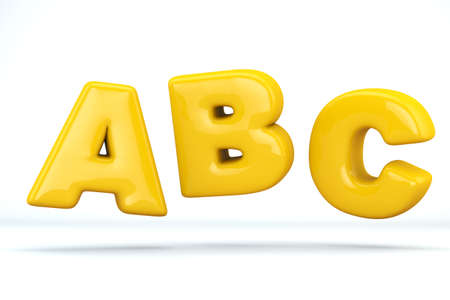 Font glossy plastic yellow, letters A, B, C. 3D render of bubble, isolated on white Background, path save.