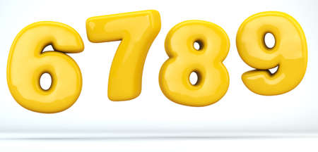 Numbers glossy plastic yellow, numbers 6, 7, 8, 9. 3D render of bubble, isolated on white Background, path save.