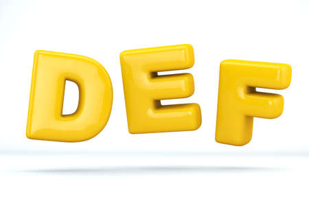 Font glossy plastic yellow, letters D, E, F. 3D render of bubble, isolated on white Background, path save.