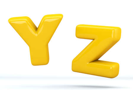 Font glossy plastic yellow, letters Y, Z. 3D render of bubble, isolated on white Background, path save.