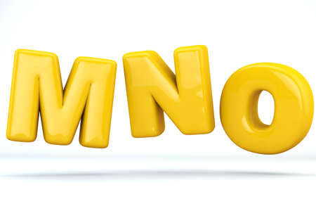 Font glossy plastic yellow, letters M, N, O. 3D render of bubble, isolated on white Background, path save.