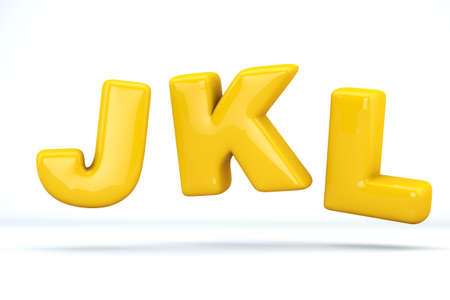 Font glossy plastic yellow, letters J, K, L. 3D render of bubble, isolated on white Background, path save.