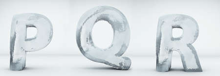 Alphabet ice. Letters P, Q, R. Realistic ice 3d render.