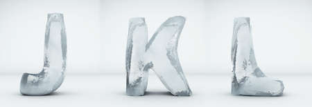 Alphabet ice. Letters J, K, L. Realistic ice 3d render.