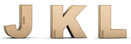 Cardboard texture letters J, K, L. 3D render. Paperboard alphabet. Font box.
