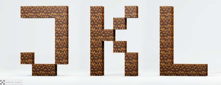 Letters J, K, L pixel block. The concept of modern pixel games. Alphabet of kids 3d render, path save. Reklamní fotografie
