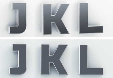 3d rendering of the letters J, K, L in blushed metal of a white isolated background. 3D render. 免版税图像