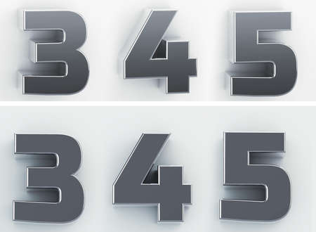 3d rendering of the numbers 3, 4, 5 in blushed metal of a white isolated background. 3D render.