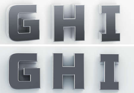 3d rendering of the letters G, H, I, in blushed metal of a white isolated background. 3D render.