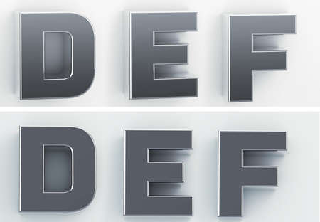3d rendering of the letters D, E, F in blushed metal of a white isolated background. 3D render.