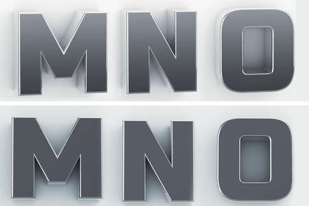 3d rendering of the letters M, N, O in blushed metal of a white isolated background. 3D render.