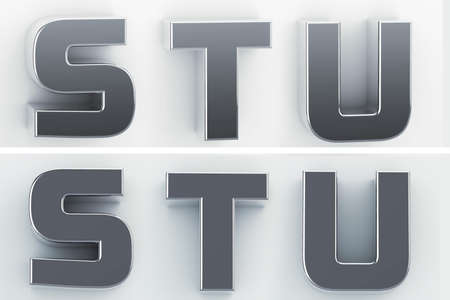 3d rendering of the letters S, T, U in blushed metal of a white isolated background. 3D render.