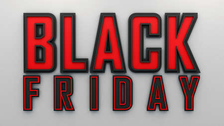 Black Friday sale label. 3d Render. Promotional marketing discount event, Design element for sale banners, posters, posts, cards.