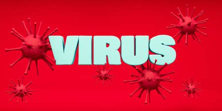 Worldwide Coranavirus epidemic. Covid-19. Templete name virus in 3d render. Red Background.