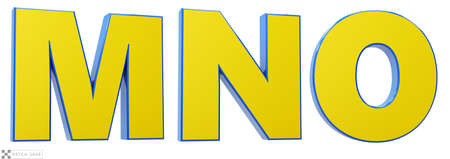 Font story, letters M, N, O 3d render glossy yellow and blue. Path save.