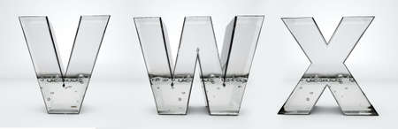 Transparent glass water letters V, W, X, 3d rendering, path save
