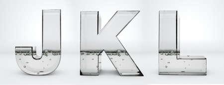 Transparent glass water letters J, K, L, 3d rendering, path save