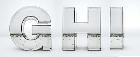 Transparent glass water letters G, H, I, 3d rendering, path save