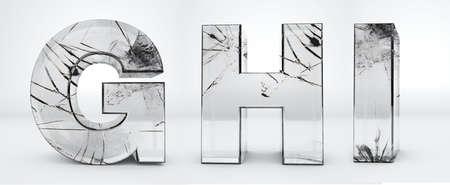 Alphabet G, H, I transparent, glass broken 3d rendering Stock fotó