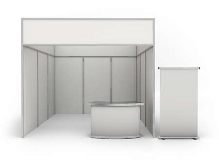 Trade exhibition stand and blank roll banner 3d render isolated - white booth for customizing Stockfoto
