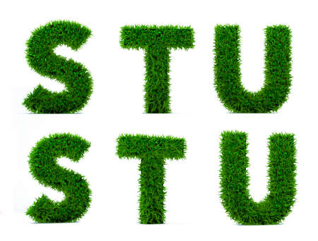 Letter S, T, U of grass alphabet. Grass letter isolated on white background. Symbol with the green lawn texture. 3D Render